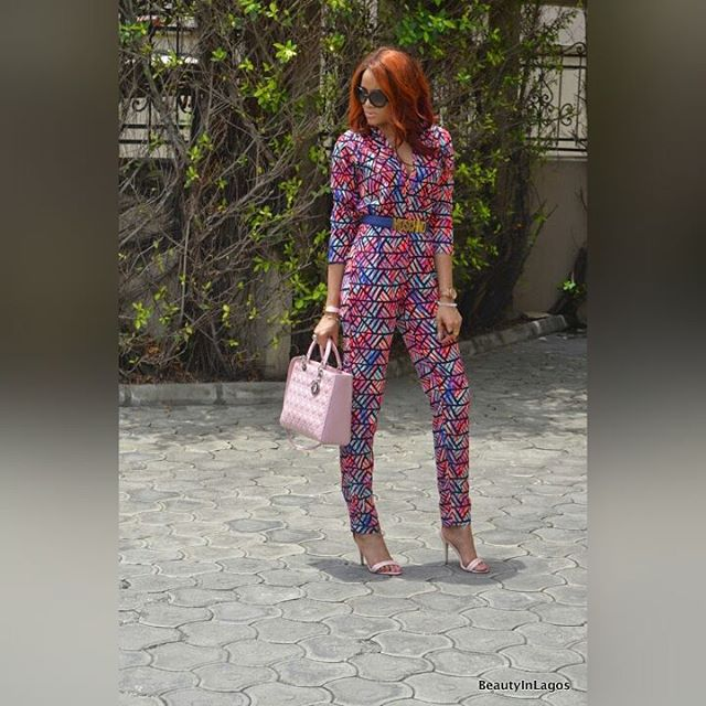 beautyinlagos in our multi print jumpsuit