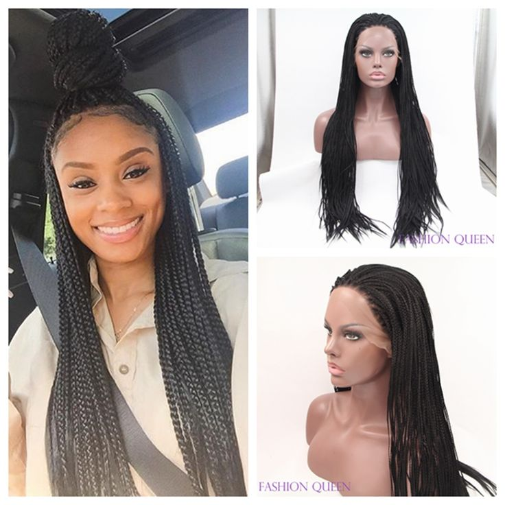 synthetic box braided lace front wig braiding synthetic lace front wig black women synthetic lace front full hand braided wigs
