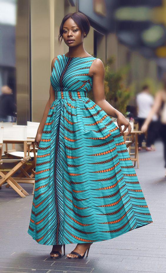 Gina African print maxi dress