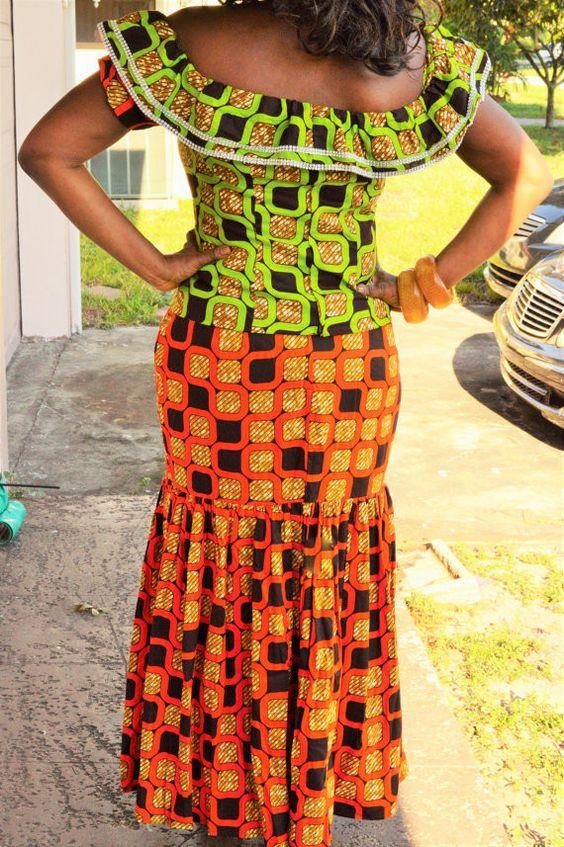 Keys African Print Orange Off Shoulder Blouse