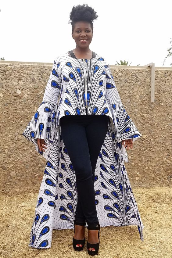 Kuwaha African Print Ruffle Sleeve Jacket High Low White Blue Black