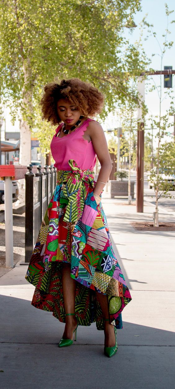 The Most Stunning African Wax Print High Low Skirt