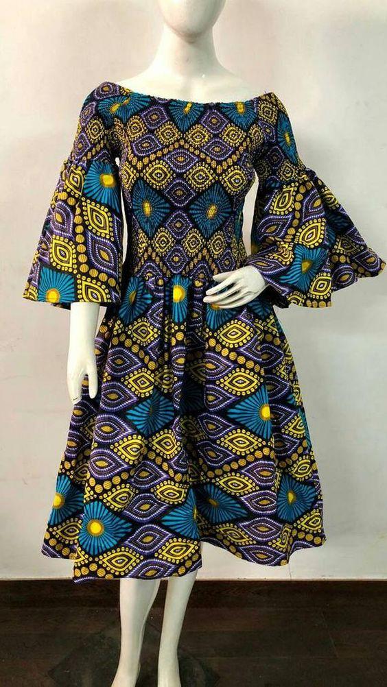 Womens Mid length Dress African Ankara Print 1 Size M XL w pockets. elastic waist Big Bell Flare 3 4 slv statement wear afro boho cloth