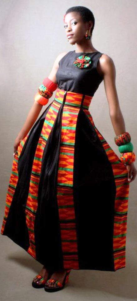 kente panels on black perfect latest african