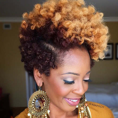 Black And Blonde Short Natural Hairstyle