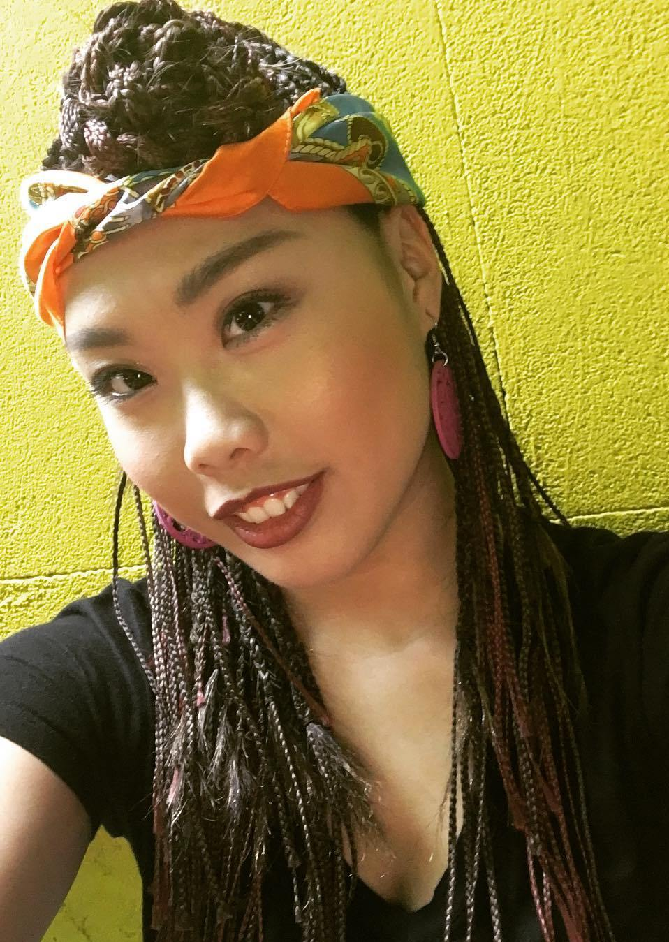 Half Updo With Bandana For Small Box Braids
