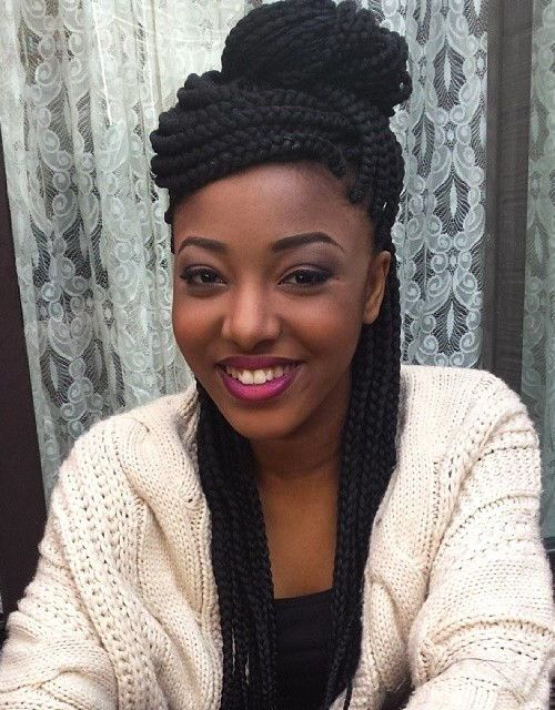 black half up half down box braids hairstyle