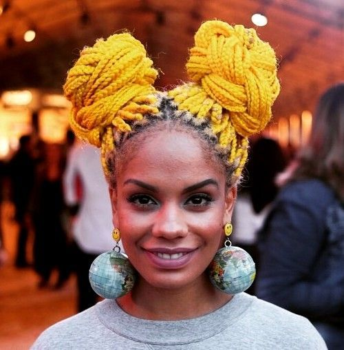 yellow long box braids