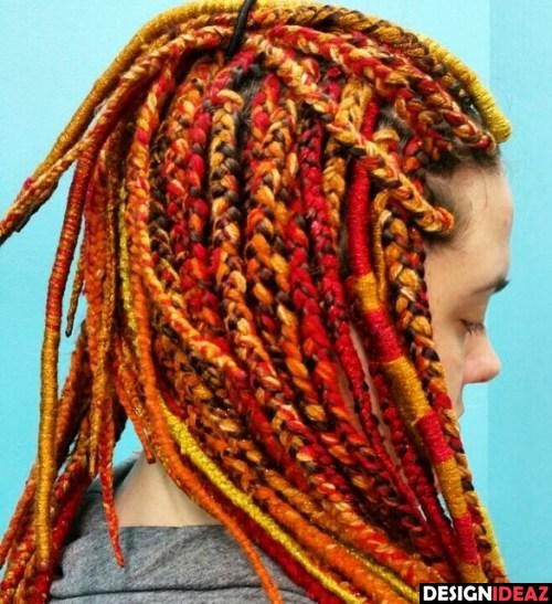 Yellow And Red Yarn Braids And Locs