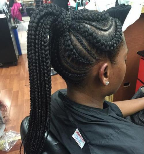 18 big and small cornrows with a high ponytail