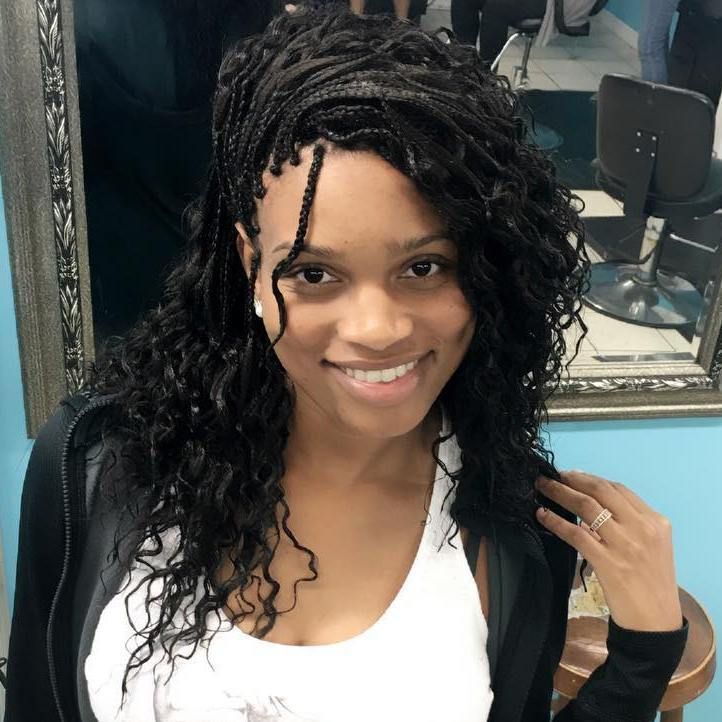 Side Swept Micro Braids With Curls