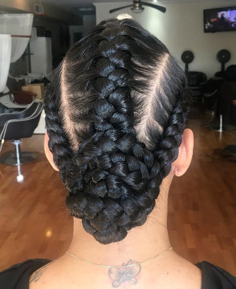 Three Underbraids With A Low Bun