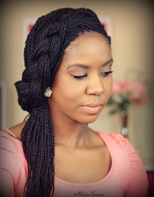 black braided updo for box braids