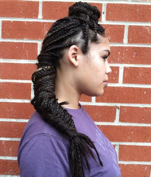 bun and fishtail long box braids hairstyle