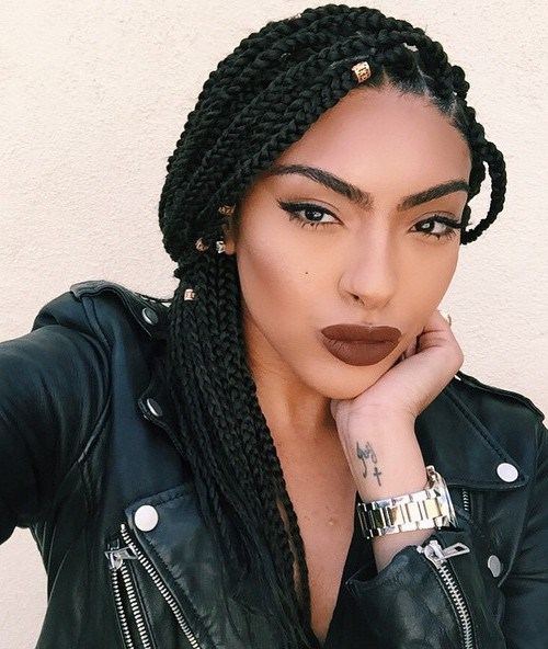 Half Updo For Middle Length Box Braids