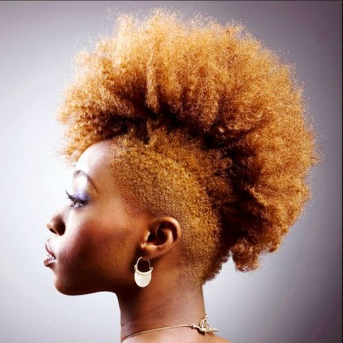 women's red mohawk for natural hair