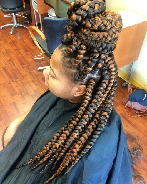 half updo for two-tone big box braids
