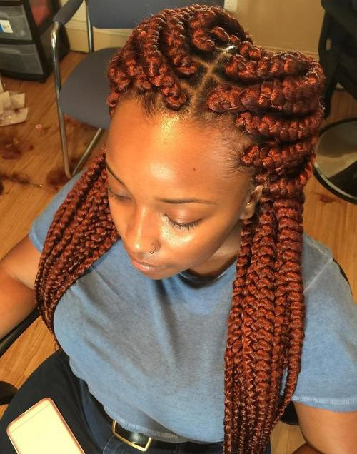 copper red big box braids
