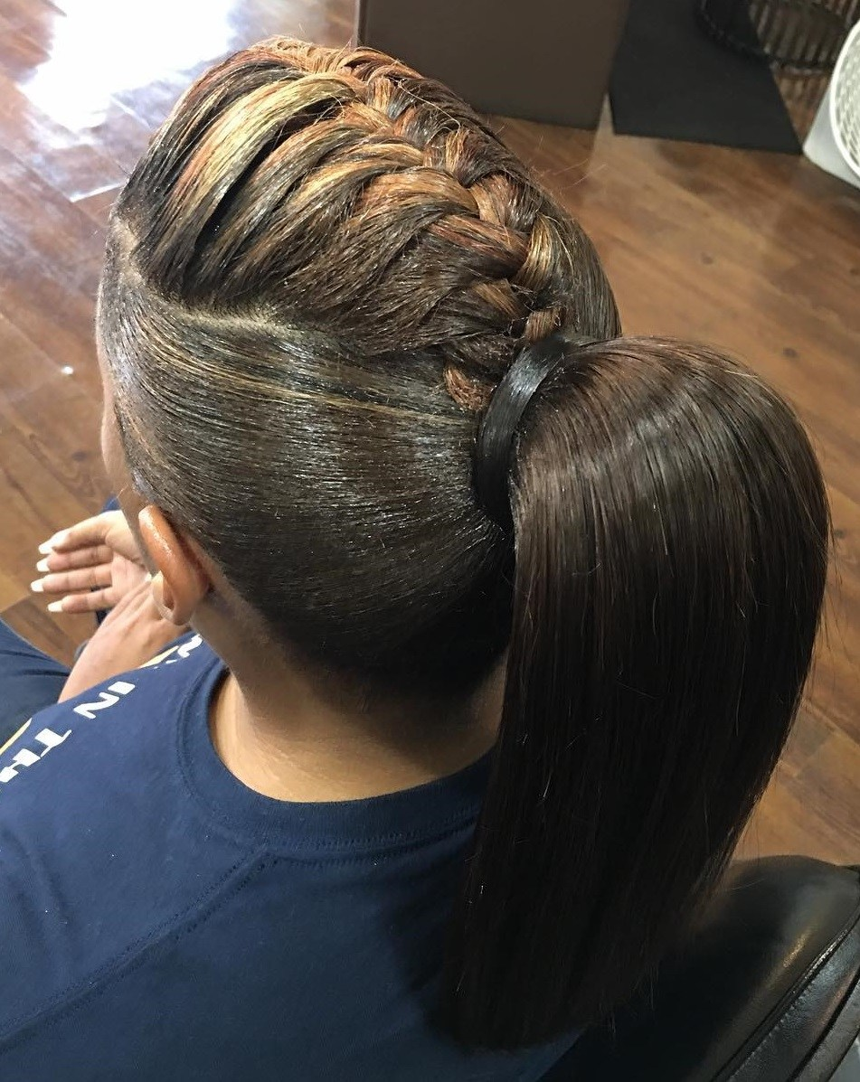 African American Ponytail With A Braid