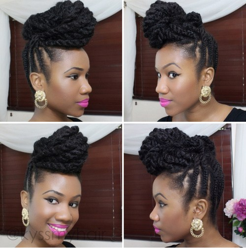 fauxhawk black braided updo