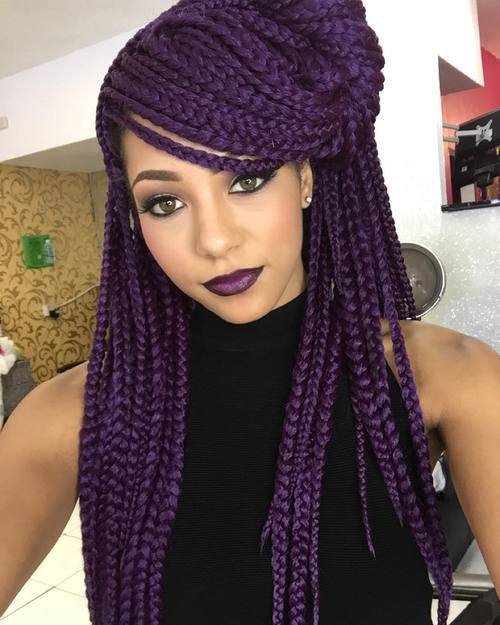 purple long box braids hald updo