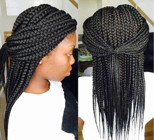 half pony for medium length thick box braids