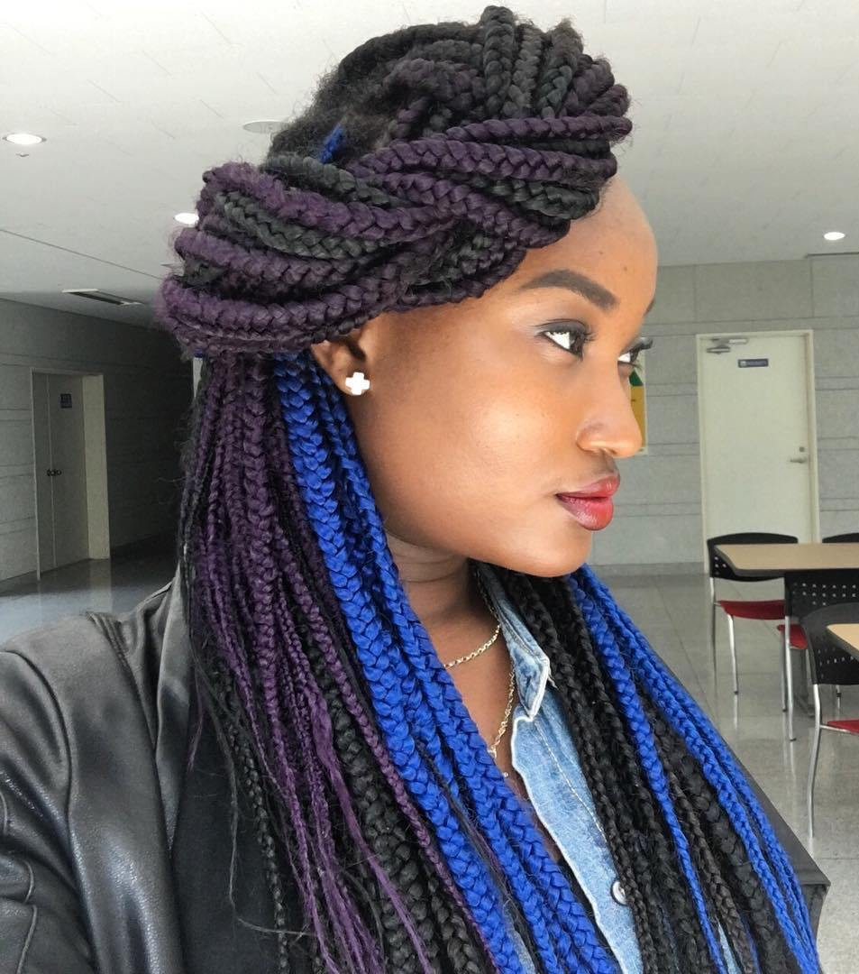 Side Twist For Colorful Box Braids