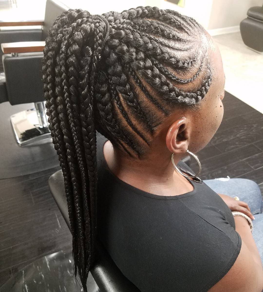 Thin And Thick Cornrows In A Ponytail