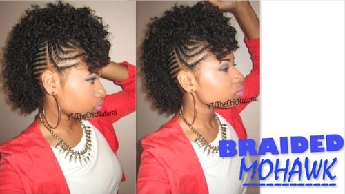 black braided mohawk updo