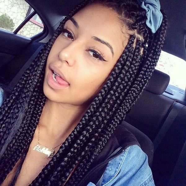 65 box braids hairstyles for black women found on polyvore
