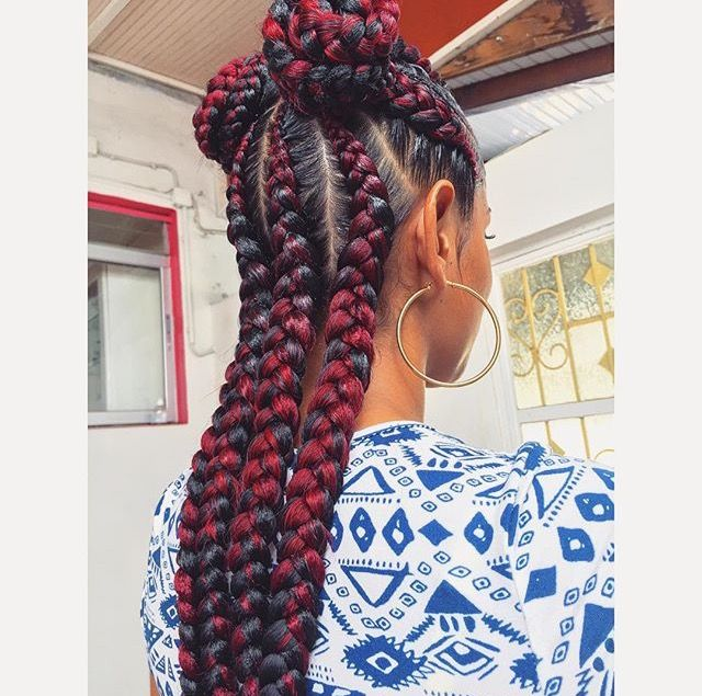 red and black long cornrows braids on thick type 4 natural hair follow kamour23 for more
