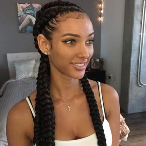 Long Goddess Braid Styling Idea