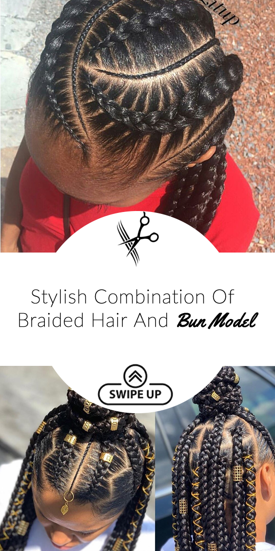 Stylish Combination Of Braided Hair And Bun Model