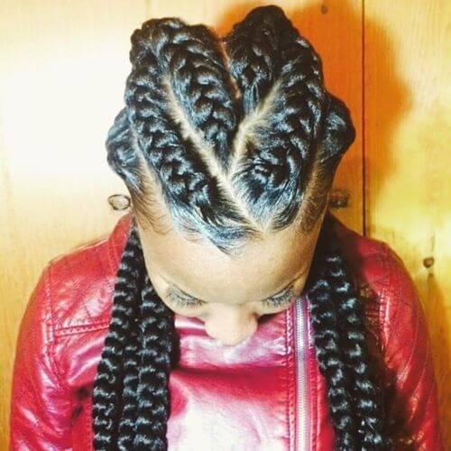 V shaped Goddess Braids Hairstyles