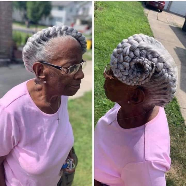 How is her hairstyle please??…