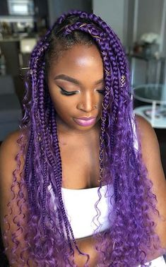 purple bohemian box braids