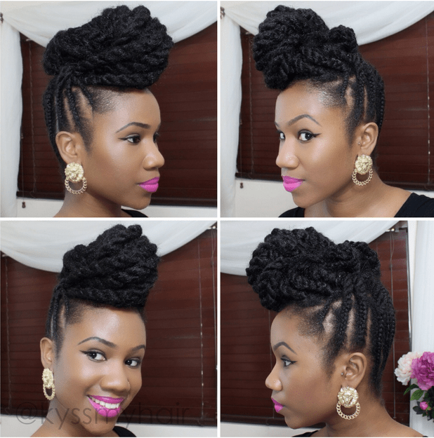 braided mohawk updo for natural hair