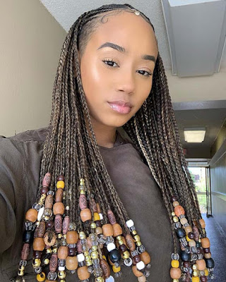 23+ Best Ponytails Braids With beads 2020 For Natural Hair