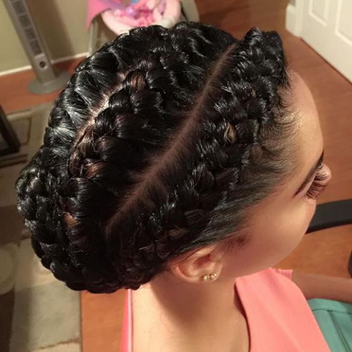Bun cornrow braid hairstyles 2
