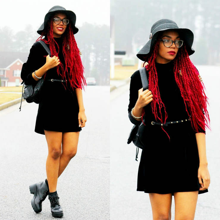 bright red thin box braids