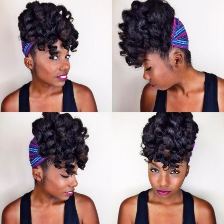 1 curly black updo with head scarf