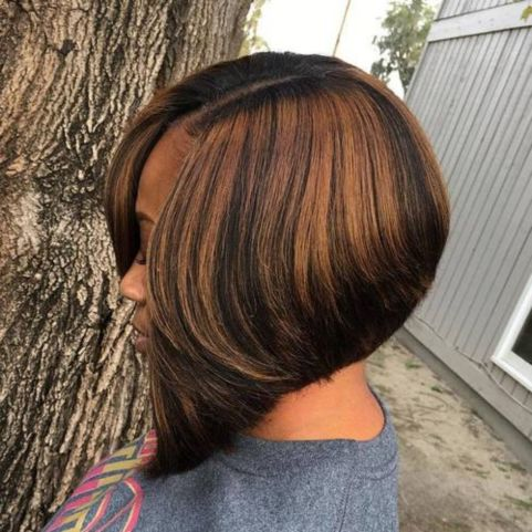 10 black side parted angled bob with highlights