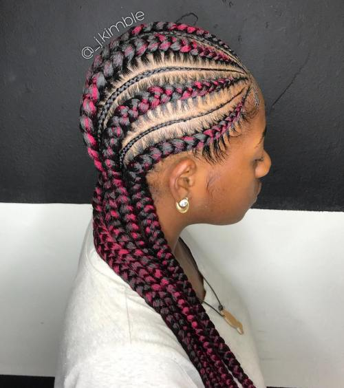 10 thick and thin cornrows with pink streaks