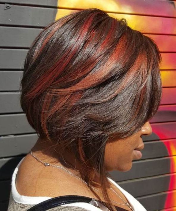 11 two tone red balayage for dark hair