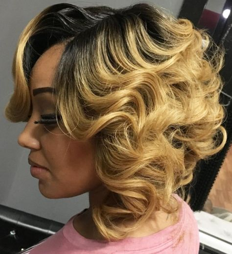 12 blonde curly bob with black roots
