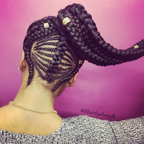 12 high ponytail with beads and cornrows
