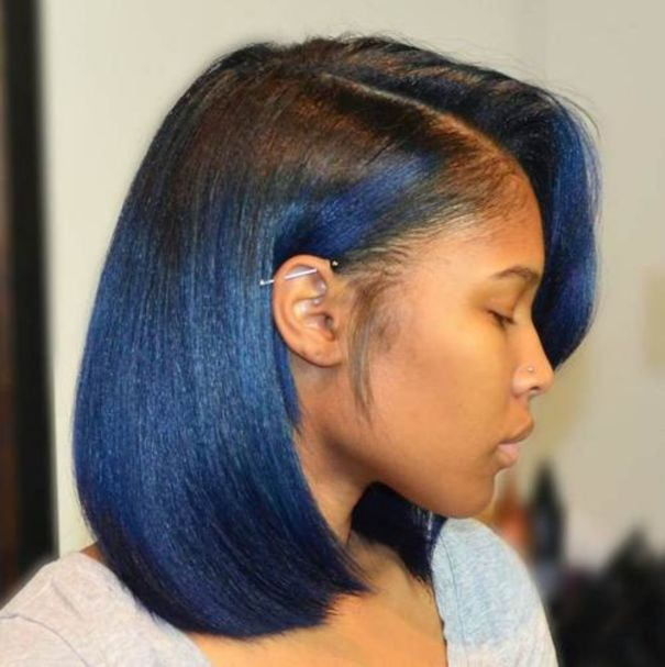 13 African American black to blue ombre bob