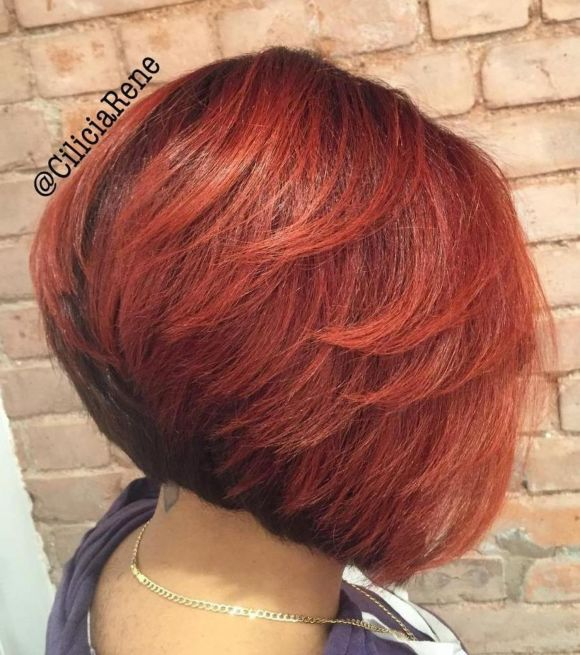 14 angled black and red bob with layers