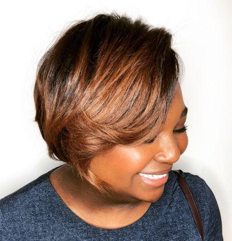 14 short chestnut brown bob for black women