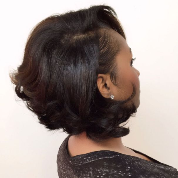 16 short black bob hairstyle with side bangs